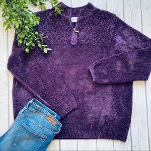 Alfred Dunner Purple Quarter Zip Knit Sweater XL